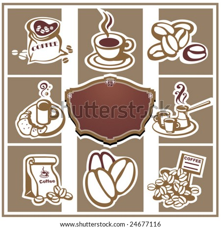 Coffee with abstract design elements. Vector illustration. - stock vector