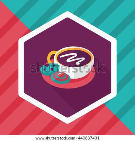coffee with chocolate flat icon with long shadow,eps10 - stock vector