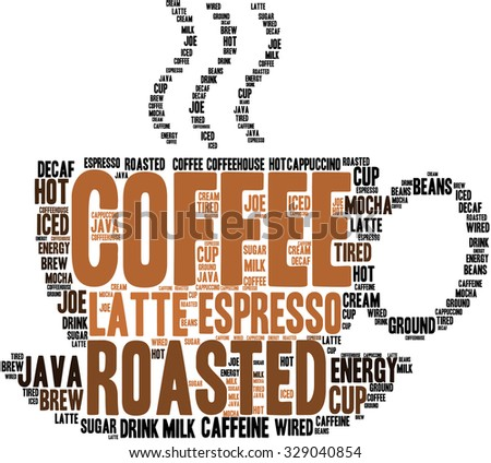 Coffee Word Cloud On White Background Stock Vector 329040854 ...