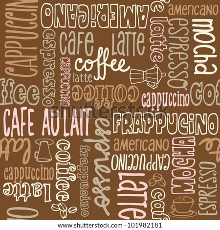 Coffee words background pattern - stock vector
