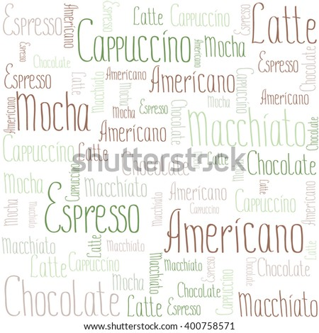 Coffee words background, vector illustration on white background - stock vector