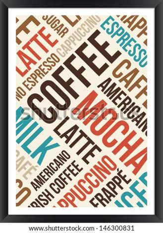 Coffee words cloud poster - stock vector