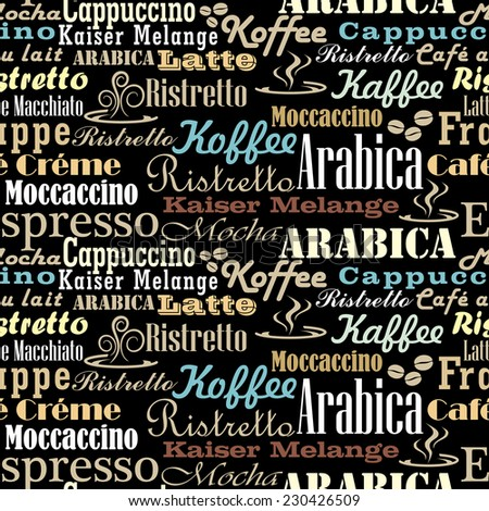 Coffee words seamless pattern - stock vector