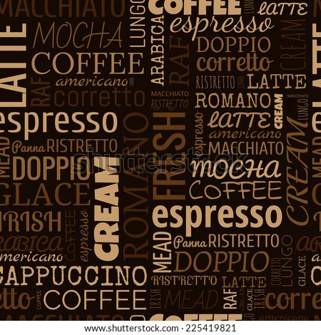 Coffee words, tags. Seamless pattern on the brown background - stock vector