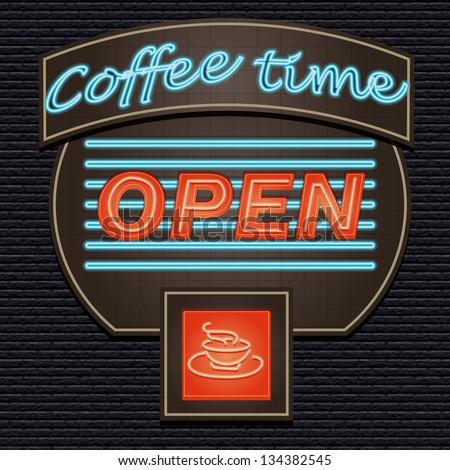 Coffeetime vector sign over black brick wall illuminated. OPEN SIGNAL. - stock vector