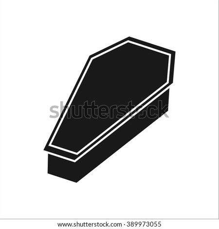 Coffin  classic simple icon on white background - stock vector