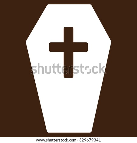 Coffin vector icon. Style is flat symbol, white color, rounded angles, brown background.