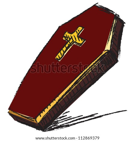 Cross Cartoon Drawing Coffin With Cross Isolated on