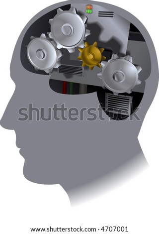 Cog Brain.  The working of the brain - stock vector