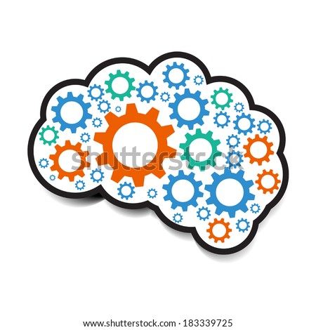 cog gear brain - stock vector
