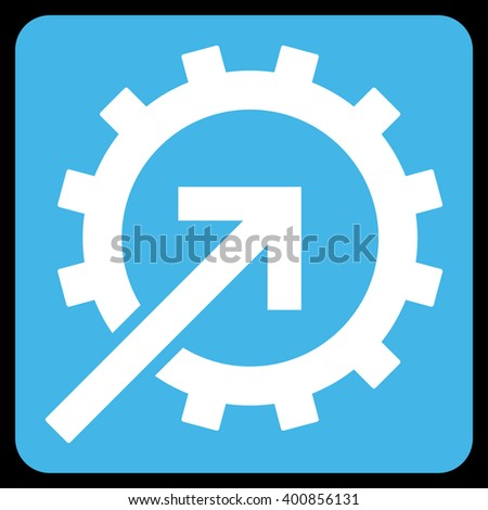 Cog Integration vector symbol. Image style is bicolor flat cog integration pictogram symbol drawn on a rounded square with blue and white colors.