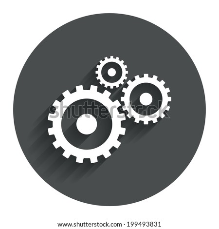 Cog settings sign icon. Cogwheel gear mechanism symbol. Circle flat button with shadow. Modern UI website navigation. Vector - stock vector