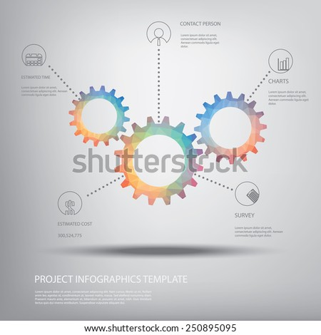 Cog wheel gear background for infographics template in modern low polygonal shapes with colorful palette and space for text. Eps10 vector illustration. - stock vector