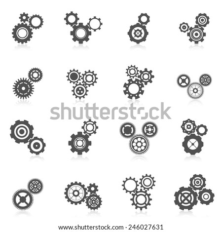 Cog wheel gear mechanic and engineering black icon set isolated vector illustration - stock vector