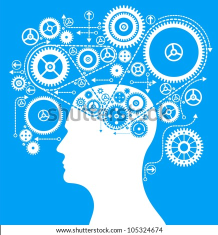 cog wheels forming a brain shape in the head shape. the concept of human intelligence. Head and Brain Gears in Progress