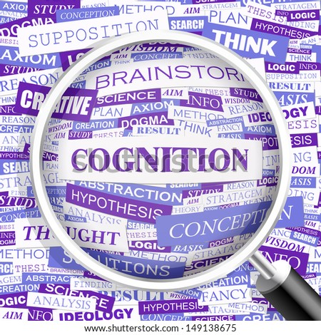 COGNITION. Concept vector illustration. Word cloud with related tags and terms. Graphic tag collection. Wordcloud collage.  - stock vector