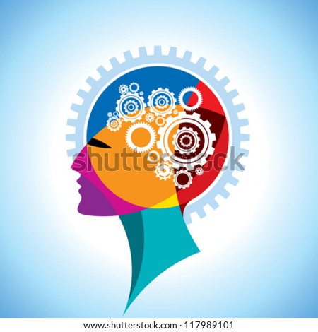 cogs and gear in human head - stock vector