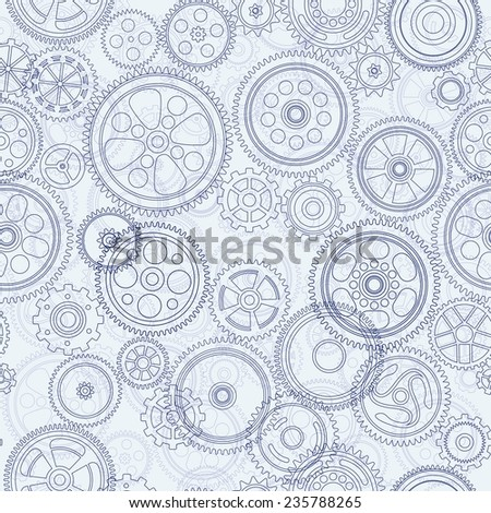 cogs and gears seamless background, vector illustration - stock vector