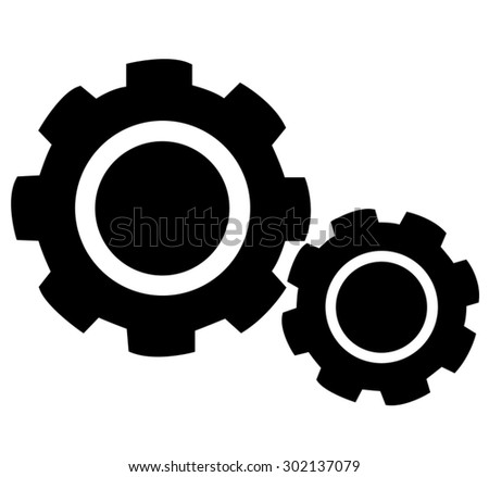 Cogs (gears) icon on white background - stock vector