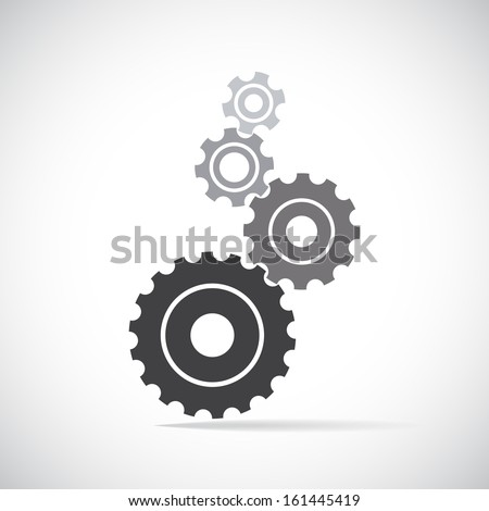 Cogs (gears) on light background. Vector - stock vector