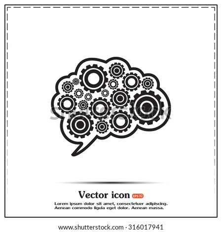 Cogs in the shape of a human brain. Vector Illustration - stock vector