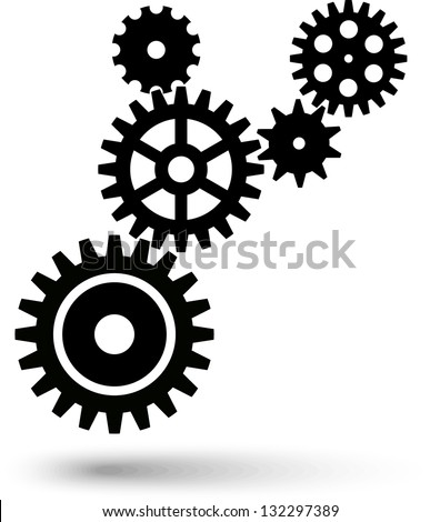 Cogwheel chain. Teamwork, gear - stock vector