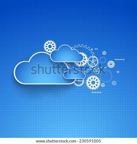 Cogwheel cloud theme. Vector illustration - stock vector