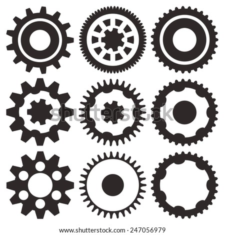Cogwheel collection machine gear, set of gear wheels vector illustration - stock vector