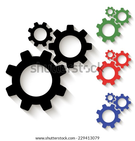 cogwheel gear mechanism icon - black and colored (green, red, blue) illustration with shadow