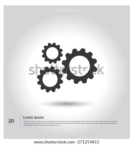 Cogwheel gear mechanism icon. Settings icon, gear icon. Configuration icon, pictogram icon on gray background. Simple flat metro design style. Outline Icon. Flat design style. Vector illustration  - stock vector
