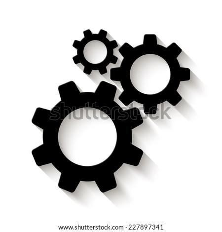 cogwheel gear mechanism icon - vector illustration with shadow - stock vector