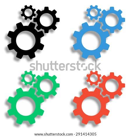 cogwheel gear mechanism icon with shadow - colored vector set - stock vector