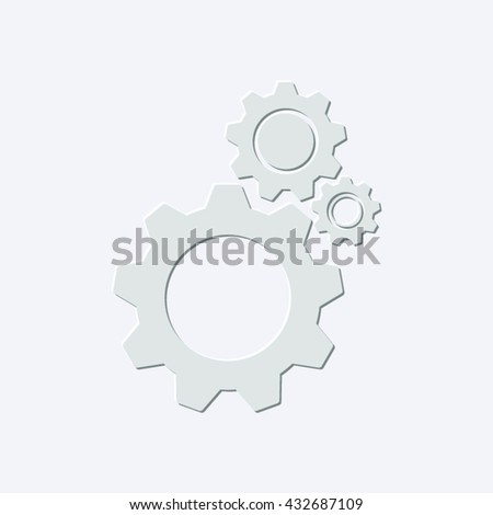 cogwheel gear mechanism - light gray vector icon