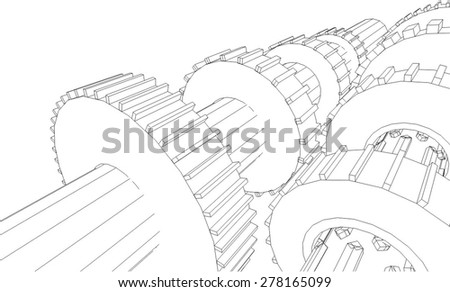 Cogwheel gear mechanism vector background - stock vector
