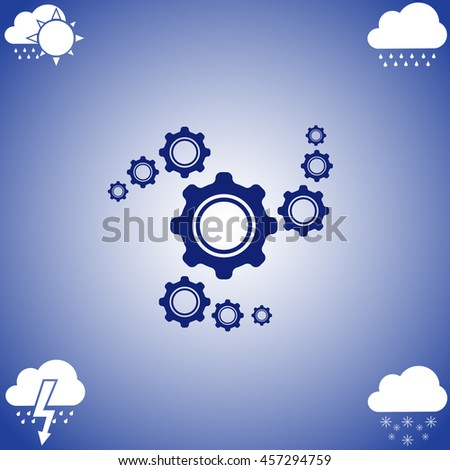 Cogwheel icon vector. Flat icon on blue background. Simple illustration.