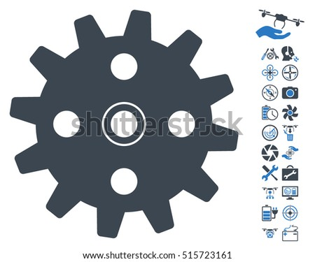 Cogwheel icon with bonus airdrone service pictures. Vector illustration style is flat iconic symbols on white background.
