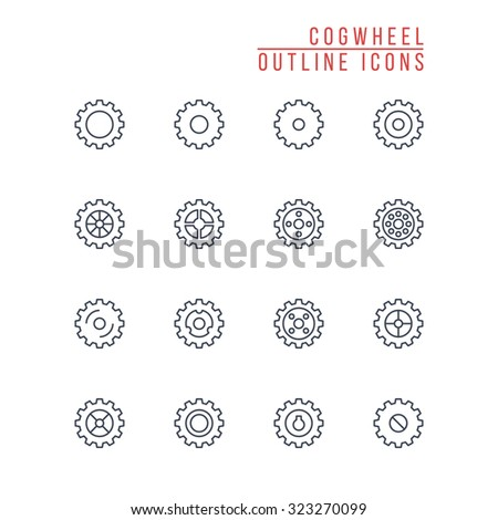Cogwheel Outline Icons - stock vector