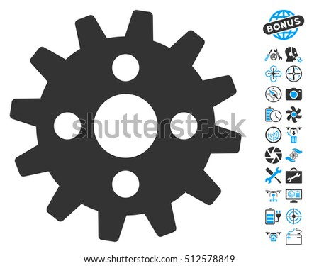 Cogwheel pictograph with bonus airdrone tools symbols. Vector illustration style is flat iconic blue and gray symbols on white background.