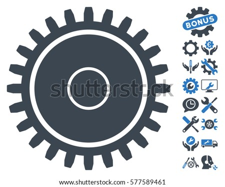 Cogwheel pictograph with bonus service images. Vector illustration style is flat iconic smooth blue symbols on white background.