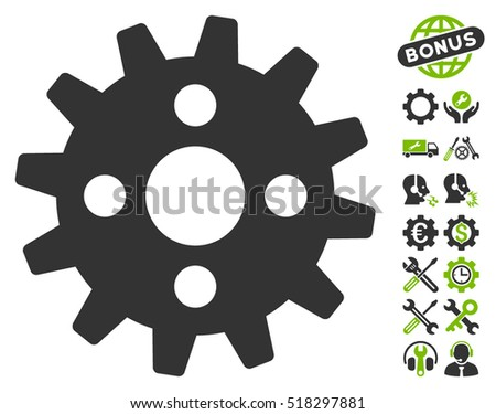 Cogwheel pictograph with bonus settings pictures. Vector illustration style is flat iconic eco green and gray symbols on white background.