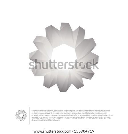 Cogwheel. Polygonal geometric symbol. Origami style. - stock vector