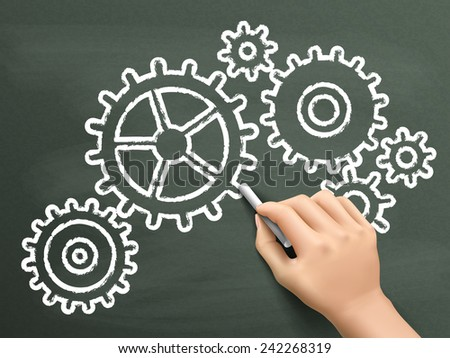 cogwheels symbol drawn by hand over chalkboard  - stock vector