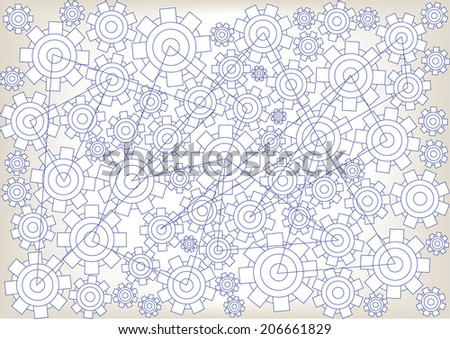 cogwheels technical drawing - stock vector