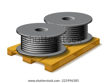 Coils with a black cord are on a wooden pallet on white background. - stock vector