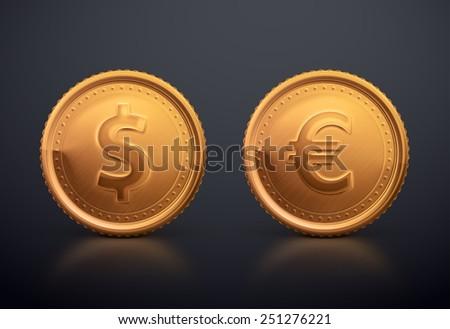 Coin dollar and euro, eps 10 - stock vector
