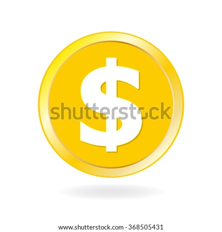 Coin icon. Gold coin with dollar and money sign. Vector illustration.