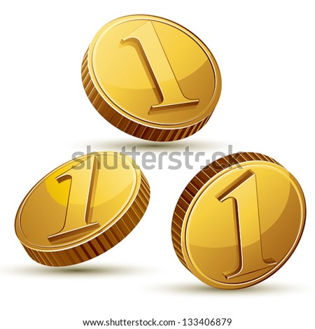 Coin icon set isolated on white background, vector. - stock vector