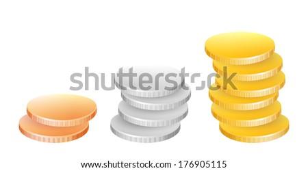 coin money payment precious metal - stock vector