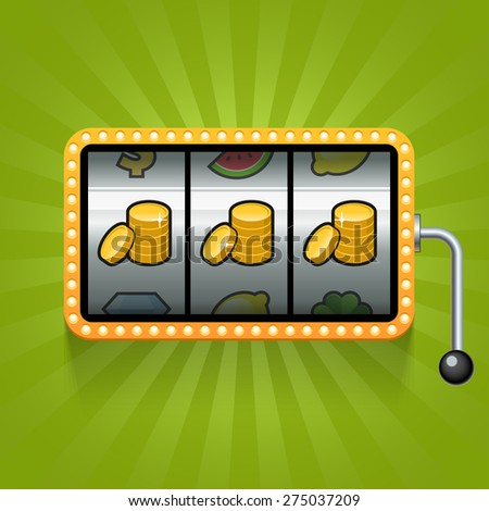 Coin on the slot machine. Vector illustration - stock vector