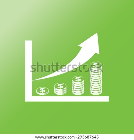 coin stack money graph up flat  icon with long shadow.  - stock vector